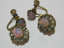 Vintage Foil Opal Art Glass Rhinestone Screwback Dangle Earrings