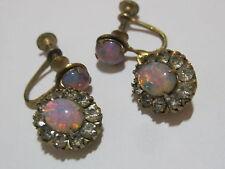 Vintage Foil Opal Art Glass Rhinestone Screwback Dangle Earrings