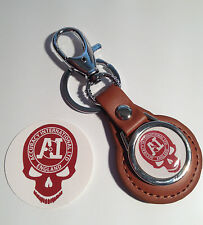 ACCURACY INTERNATIONAL `SKULL` TAN LEATHER KEY RING &   PHONE STICKER