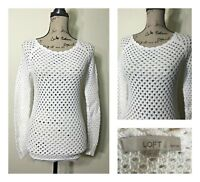 Ann Taylor LOFT Sweater White Open Knit Women Size Petite XXS Cotton Top Pull On