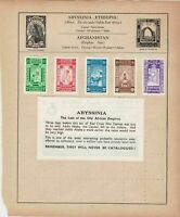 Abyssinis Aden & Antigua Stamps on Album Page ref R 18949
