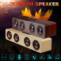 Hi-Fi 3D Loud Quad bluetooth Speaker Wireless Wooden FM Stereo Radio Super Bass