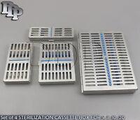 Set of 4 STERILIZATION CASSETTE BOX FOR 5, 7, 10, 20 DENTAL SURGICAL INSTRUMENTS