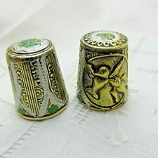 Lot of 2 Vintage Damascene Thimbles 1 with Birds Accents of Green Spain