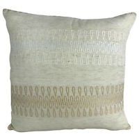 "Luxury Beige Cushion Covers with Beautiful Gold / White Detail 18x18"" / 45x45cm"