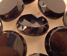 "12 vintage jet black glass shank buttons flat front faceted edges 3/4"" 18mm #8"
