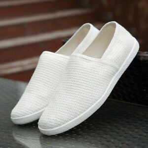 Mens Loafers Breathable Moccasins Canvas Flats Linen Slip On Driving Shoes Size