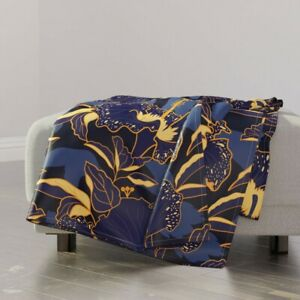 Throw Blanket Tropical Hibiscus Floral Purple Gold 48 x 70in
