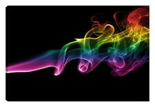 Quadro moderno NUVOLA COLORI fumo arcobaleno giallo fucsia rosso nero 60x100 art