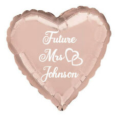 """PERSONALISED hen balloon Future Mrs Bride to be 18"""" heart foil rose gold"""