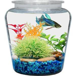 Vase Fish Bowl with Break-Resistant Plastic for Corner Table Decor 1 Gallon