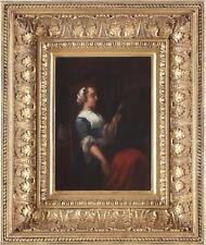 Dutch School Antique 18th Century Oil Painting Portrait Maid Interior