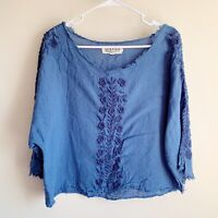 Textile Elizabeth And James Blue Floral Embroidered Short Sleeve Blouse Small