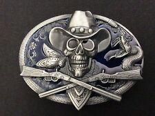 New Western Skull Guns Belt Buckle