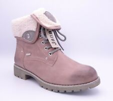Jana Women's Rose Pink Cuffed Lace Up Flat Ankle Boots Size UK 7.5 EUR 41