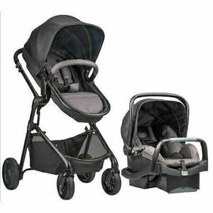 NEW IN BOX Evenflo Pivot Travel System - CASUAL Gray STROLLER CAR SEAT CARRIAGE