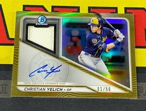 2021 Bowman Chrome Christian Yelich Gold Relic Auto /50 Milwaukee Brewers