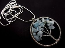 "A LARGE BLUE JADE CHIPS SILVER PLATED  TREE OF LIFE THEMED NECKLACE. 27"" LONG."