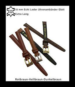 10mm Echt Leder Uhrenarmbänder glatt mit Naht hell,dunkel, rotbraun Extra Lang