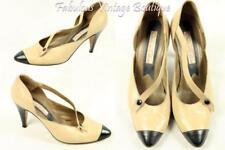 Vtg OSCAR DE LA RENTA Nude Leather Heels Pumps Mary Janes Shoes Pointy Toe 8