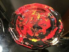 crown castle pewter plate hand painted abstract painting by musk yai