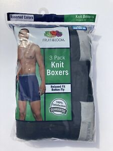 New Fruit of the Loom Big Mens 3 Pack Knit Boxer Shorts Assorted Colors Size 3XL