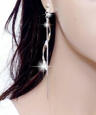 "#E122T 4"" VERY Long CLIP ON EARRINGS High Quality Dangle Twist Tassel Polished"