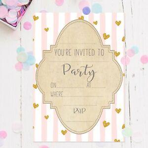 Girls Party Invites Pink & Gold 16pk Invites Birthday Baby Shower Hen Party