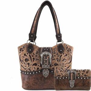 Justin West Rhinestone Buckle Western Floral Print Conceal Carry Handbag Purse