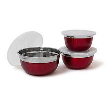 Schüssel Set Edelstahl rot mit Deckel Rührschüssel Salatschüssel Schüsseln Dose