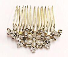 Hermosa Vintage Estilo Cristal & Perla De Oro Antiguo Nupcial Peine de Cabello.