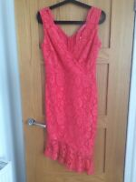 Sistaglam Rosa Sleeveless Lacy Dress Coral Size 10 BNWT RRP £72