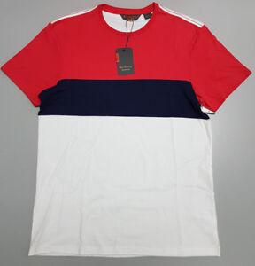 NEW Ben Sherman MEDIUM Blue Red White Striped Cotton T-Shirt BSBO2102 $59.95