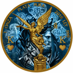 Siver Mexico Libertad - King, Colorized and Gold Gilded Coin 2018
