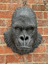 STONE GARDEN LARGE DETAILED GORILLA APE HEAD WALL HANGING PLAQUE ORNAMENT