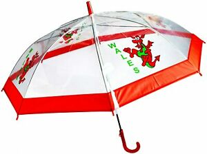 New Kids Wales Cymru Welsh Dragon Waterproof Clear Umbrella With A Whistle…