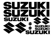 SET OF 12 SUZUKI STICKERS. DECALS FOR BIKE, QUAD, OUTBOARD. 18 COLOURS.