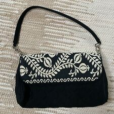 Vera Bradley Black White Quilted Embroidered Handbag Purse Chain Strap Fashion