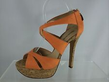 Alexandre Birman Orange With Cork Platform High Heel Shoes 8