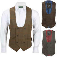 Mens Double Breasted Tweed Check Waistcoat Retro Horseshoe Cut Herringbone Vest