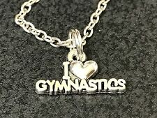 "Gymnastics I Love Charm Tibetan Silver 18"" Necklace"