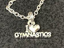 "Gymnastics I Love Charm Tibetan Silver 18"" Necklace"