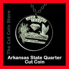 Arkansas Natural State 25¢ AR Quarter Cut Coin Jewelry Necklace Diamonds-Park