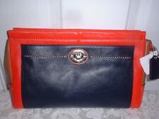 NWT Coach Park Colorblock Large Leather Clutch Wristlet Handbag Vermillion 49473
