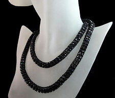 Men's Women's Black On Black 2 Row Diamond Simulated 30 Inch Chain Necklace 7mm