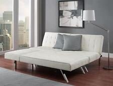 For shocka_g - White Faux Leather Futon Sofa Couch Bed Sleeper with Chaise