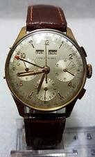 STUNNING ERNEST BOREL 18K GOLD  TRIPLE DATE & MONTH & CHRONOGR WATCH  1950s
