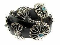 """Navajo Sterling Silver Sand Cast Rosette Turquoise Concho 46"""" Black Leather Belt"""