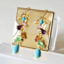 Earring Gem Elegant For Long Alloy Fashion Earrings Multicolor Crystal Jewelry