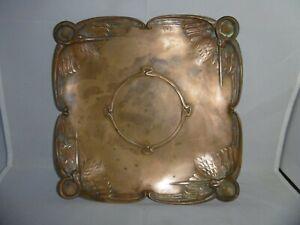Superb quality French Art Nouveau solid bronze tray. Storks, signed Friés, c1890